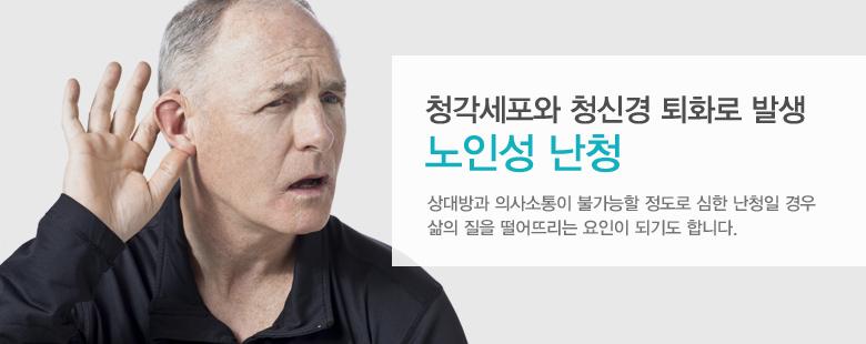 청각세포와 청신경 퇴화로 발생 노인성 난청