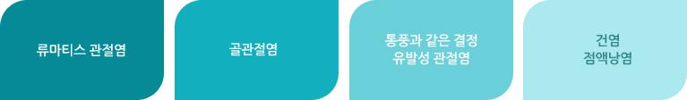 류마티스 관절염 / 골관절염 / 통풍과 같은 결정 유발성 관절염 /  건염, 점액낭염