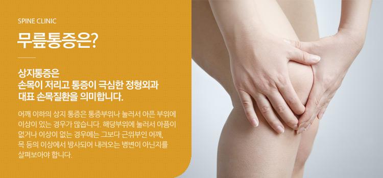 무릎통증은? 상지통증은 손목이 저리고 통증이 극심한 정형외과 대표 손목질환을 의미합니다.